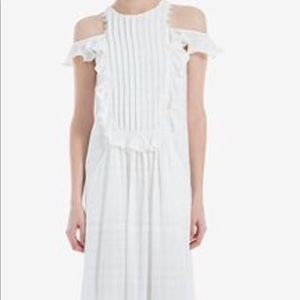 NWT cotton pleated cold shoulder dress